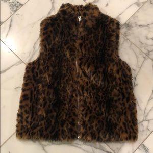 J.Crew faux fur leopard vest
